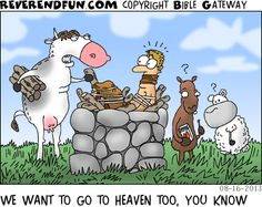 DESCRIPTION: Animals preparing to sacrifice a human CAPTION: WE WANT TO GO TO HEAVEN TOO, YOU KNOW