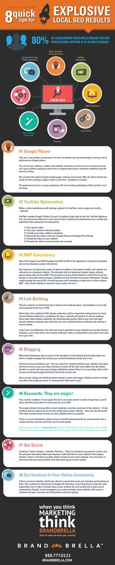 8 quick tips for explosive local SEO results - Helpful Infographics #christinestoppa
