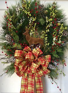 deer wreath pine wreath wreath christmas wreath by williamsfloral grapevine wreath diy wreath wreath