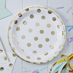 Gold Foil Polka Dot Pape Plates (Pk8)