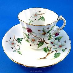 Awesome sage green fruit design Hammersley Pedestal Tea Cup and Saucer China Cups And Saucers, Teapots And Cups, Teacups, Cup And Saucer Set, Tea Cup Saucer, Tea Places, Café Chocolate, Green Fruit, China Tea Sets