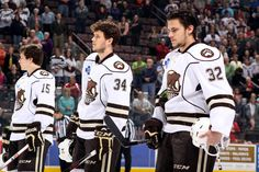 04.21.13 - Hershey Bears starting line up on the ice for the National Anthem.  Photo courtesy of JustSports Photography