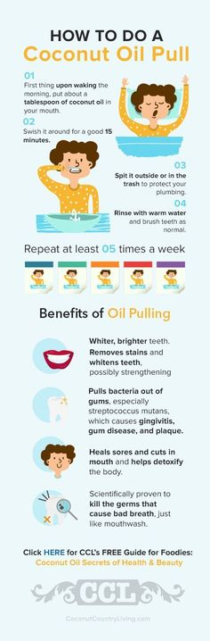 Every tried coconut oil pulling or know how to do a good oil pull to get the maximum benefits? Then check this out http://coconutcountryliving.com/coconut-oil-pulling-outstanding-benefits-amazing-history Doing a coconut oil pull is one of the BEST ways not only for detox but also to keep your teeth and gums nice and strong. And the truth is there are harmful microbes lurking just below the surface of the gums that are sometimes the product dental procedures that are just plain dangerous.