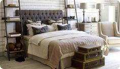 When we get our laddershelves up, our bedroom will look a lot like this.  I like our brown leather headboard better than this cloth headboard.