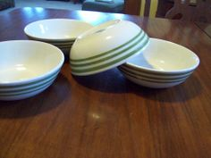 Set of 4 Mainstays heavy ceramic cereal bowls white with 3 green stripes NICE