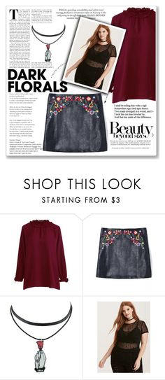"""Dark Florals"" by alehrs ❤ liked on Polyvore featuring Ashley Graham, Torrid, skirt and darkflorals"