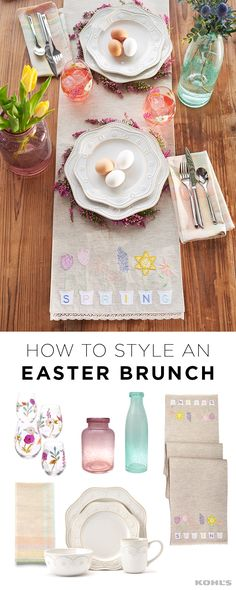 Easter brunch just got a lot more beautiful. Create your Easter tablescape with lovely spring decor. Featured product includes: SONOMA Goods for Life small bubble glass vase and tall blue bubble glass vase; Celebrate Easter Together spring flowers 56-inch table runner and pic stitch napkin 4-pack; Food Network fontinella beaded 4-piece place setting; and Certified International rainbow seeds 4-piece hand-painted stemless wine glass set. Have a happy Easter with Kohl's.
