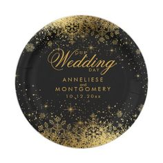 Winter Black & Gold Snowflakes Wedding Paper Plate