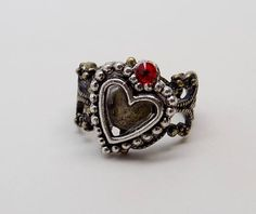 Buy Now Steampunk jewelry heart ring. by slotzkin USDAwesome steampunk ring made of heart charm with red crystal mounted on brass Victorian filigree Heart Jewelry, Heart Ring, Black Diamond Wedding Rings, Steampunk Rings, Filigree Ring, Heart Charm, Best Gifts, Victorian, Brooch