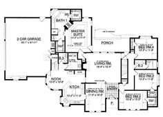 Floor Plans AFLFPW14563 - 1 Story New American Home with 4 Bedrooms, 2 Bathrooms and 2,316 total Square Feet