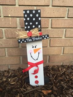 This little snowman would be darling on your mantle, standing by your fireplace, or even on your front porch this Christmas. It is