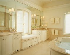 Towel Bars Design Ideas, Pictures, Remodel, and Decor - page 35 -- aha - hand towel to right and higher bar for regular towels outside shower