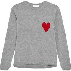Chinti and Parker - Intarsia Wool And Cashmere-blend Sweater - Gray Heart Sweater, Sweater Shirt, Grey Sweater, Stylish Clothes For Women, Wool Sweaters, Crewneck Sweaters, Crew Neck Shirt, Cool Outfits, Cashmere