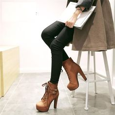 MCCKLE 2017 Spring summer Women Ankle Boots high heels lace up leather double buckle platform short booties new black X0761