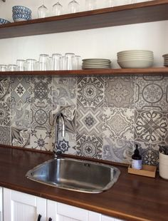 Beach appartment kitchen in Playa Granada, Andalusia. Beautiful tiles Vintage Bestile