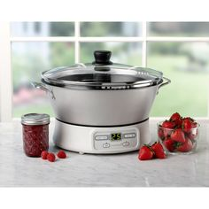 """$99 Ball® FreshTECH™ Jam & Jelly Maker - Simplifies making homemade jams & jellies like the bread machine does. Auto stir, alarms, store functions =perfect results every time - no guess-work. Non-stick interior=quick clean-up. Cooks slow +even prevents  scorching + boiling-over like stovetop process. Never been easier to make homemade gifts. Recipes for spreads, reduced-sugar jam. No jars. Non-stick interior. 14.5""""diameter x 11.5""""ht. Makes 4 8oz. jars / batch / 30-min."""