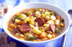 Mexican bean and sausage soup is a warm and filling dinner or lunch recipe that you'll want to make time and time again with spicy chorizo and Lunch Recipes, Mexican Food Recipes, Soup Recipes, Dinner Recipes, Roast Chicken Soup, Chicken Gumbo, Chunky Vegetable Soup, Veg Soup, Bean And Sausage Soup