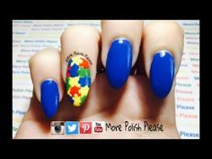 Autism Awareness Nail Art Design Tutorial, please subscribe for more videos !!  -More Polish Please.