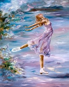 "Ladies or women figure skating painting ""Lilac Dream"" by Louka {Louise Chiasson}"