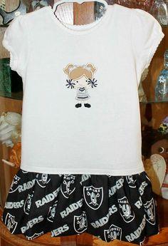 Raiders Cheer Applique/Embrodiered Dress by mimisinstitches, $24.95