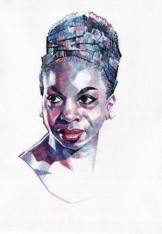 Image of Nina Simone Nina Simone, Portraits, Portrait Art, Carolina Do Norte, African Art Paintings, Afro Art, Black Is Beautiful, Beautiful People, African American Art