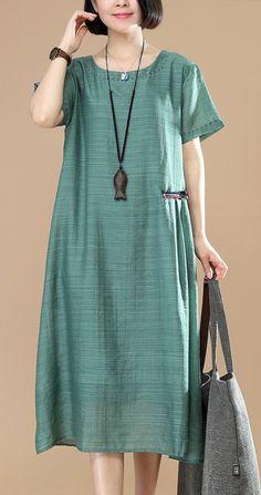 Natural layered linen dress Online Shopping green Dress o neck summer - Green Dresses - Ideas of Green Dresses Linen Dresses, Cotton Dresses, Women's Dresses, Dresses Online, Summer Dresses, Summer Outfits, Hijab Fashion, Fashion Dresses, Hijab Stile