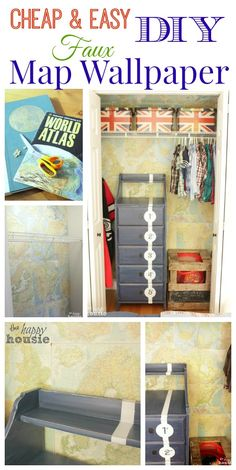 Dress up a wall or closet with cheap and easy DIY Faux Map Wallpaper - full tutorial at The Happy Housie