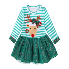 Nice Amazing Toddler Kids Baby Girls Deer Striped Princess Dress Christmas Outfits Clothes US 2017 2018