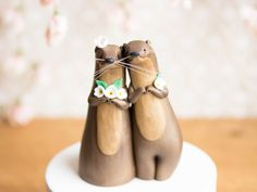 River Otter Wedding Cake Topper by Bonjour by BonjourPoupette