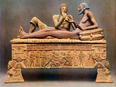 *ITALY ~ Etruscan Sarcophagus with two figures.