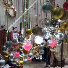 From the Free People store. A riot of holiday ornaments! Cute idea to display groups of ornaments! Holiday Ornaments, Christmas Bulbs, Christmas Decorations, Holiday Decor, Christmas Ideas, Christmas Window Display, Free People Store, Ornament Wreath, Stuff To Do