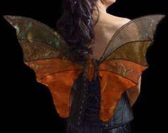 OOAK Unique Brown Autumn Fall Iridescent Fairy Wings Woodland Fairy Costume