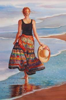 Stroll with Hat ~ Vonnie Whitworth Art Hyper Realistic Paintings, Cool Paintings, Woman Painting, Figure Painting, People Illustration, Illustration Art, Beautiful Pencil Sketches, Art For Art Sake, Girl With Hat