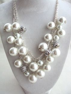 Chunky Pearl Necklace Cluster Pearl NecklaceBridal Jewelry by 4YJD, $17.10