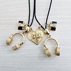 2 Colar Feminino Amizade Best Friends Melhores Amigas Fone mens fashion necklace style cocar brasil