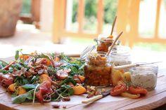 Harvest Lunch: Peach & Prosciutto Salad   Snoek Paté & Dried Fruit Pickle Cheese Platters, Dried Fruit, Antipasto, Prosciutto, Preserves, Pickles, Harvest, Peach, Salad