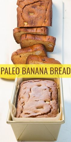 Paleo banana bread, made with the perfect combo of almond flour and coconut flour, three bananas and just a touch of honey for added sweetness. And so easy!