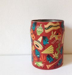 Vintage tin with Mexican print by George W Horner by GoodsGarb