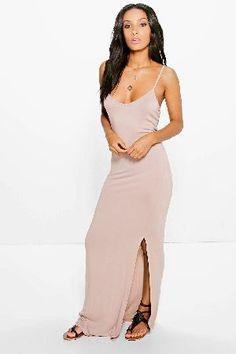 #boohoo Knot Cross Back Maxi Dress - sand DZZ83819 #Selena Knot Cross Back Maxi Dress - sand