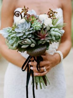 Structured Succulent Bridal Bouquet With Fiddleheads The Knot