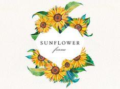 Watercolor Sunflower, Floral Watercolor, Celtic Runes, Frame Wreath, Wedding Frames, Botanical Prints, Watercolor Illustration, Printable Wall Art, Design Bundles