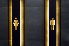 Female and male restroom sign. Restroom signs in public place. Important signs and symbols concept. Simple sign of WC. Restroom sign on a toilet door. Washroom Signage, Toilet Signage, Restroom Signs, Pub Design, Signage Design, Restaurant Design, Gym Interior, Office Interior Design, Wc Public
