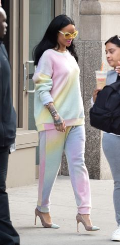March 28, 2016  Who: Rihanna  What: A Bright Tracksuit   Why: Rihanna takes spring dressing to comfy heights in this rainbow sweat suit.  Get the look now: The Elder Statesman sweater and pants, elder-statesman.com.