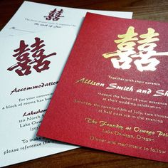 Happiness is one of our Chinese inspired design. The gold and red plays off the traditional Chinese wedding colors. The addition of gold foil stamping on #sparkling red paper really adds to the elegance of this invitation.  #chinesewedding #doublehappiness #weddinginvitation #goldfoil #letterpress #letterpressinvitation #asianwedding #chinesebride