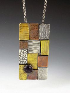 patchwork necklace with amethyst by MicheleGradyDesigns on Etsy, $180.00