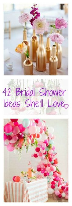 Make the bride-to-be feel special with our tips for bridal shower themes, table settings, favors, and recipes. by jeanette Bridal Shower Tables, Bridal Shower Decorations, Bridal Showers, Wedding Decorations, Bridal Shower Favors Diy, Bridal Shower Balloons, Shower Centerpieces, Wedding Centerpieces, Trendy Wedding