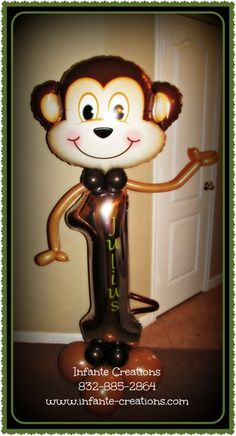 Palyful Monkey for any number birthday Balloon Tree, One Balloon, Number Balloons, Balloon Columns, Balloon Bouquet, Balloon Centerpieces, Balloon Decorations, Balloon Ideas, Balloon Design For Birthday