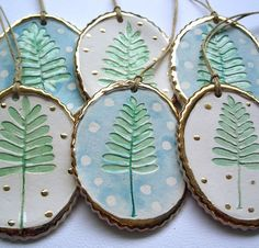 Set of 3  Fern Ornaments by joyelizabethceramics on Etsy