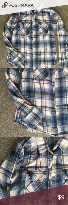 Plaid shirt Plaid shirt! This is really comfortable! It has two small stains shown in the fourth picture. It would be really cute tied around waist! Even in the summer with shorts. Other than that no flaws!! It has buttons so you can roll up the sleeves. 20% off bundles and excepting all reasonable offers Derek Heart Tops Tees - Long Sleeve
