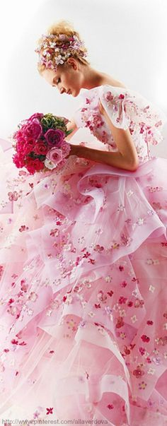 Beautiful pink gown. Would be a lovely pink wedding dress!                                                                                                                                                     Plus